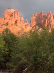 front view of cathedral rock in sedona, arizona